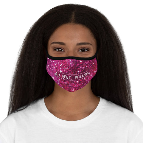 """SIX FEET, PLEASE"" Sparkly-Pink Fitted Polyester Face Mask"