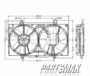 002880 | Radiator cooling fan assy; includes motor/fan/blade for a 1993-1997: NISSAN, ALTIMA