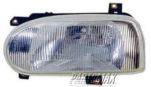 001160 | RT Headlamp assy composite; Type 3; except GTI; w/single bulb headlamps for a 1993-1999: VOLKSWAGEN, GOLF