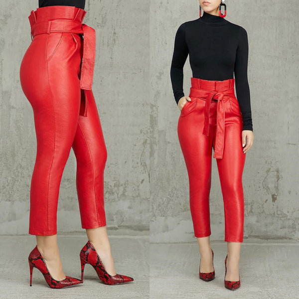 High Waist Belted Pencil Pants - Thumb Slider