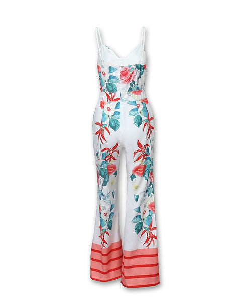 Wide Leg Floral Office Jumpsuits - Thumb Slider