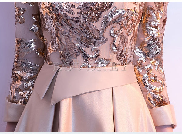 Sequin Golden Evening Dress - Thumb Slider