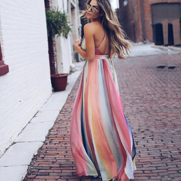Summer Boho Long Maxi Chiffon Dress - Thumb Slider