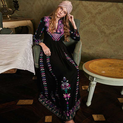 Floral Folkloric Embroidery Long Boho Dress - Thumb Slider
