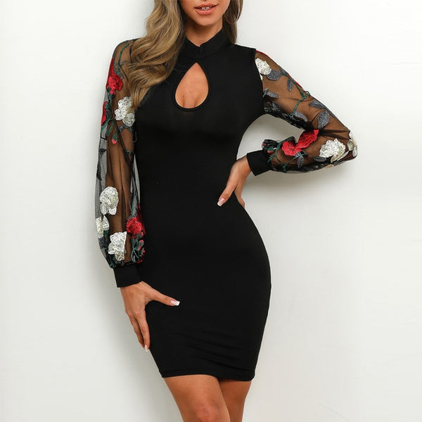 Mesh Floral Embroidery Bodycon Dress - Thumb Slider