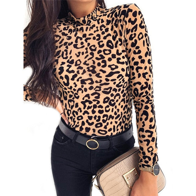 Leopard Floral Pullover Tops - Thumb Slider