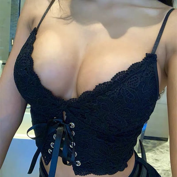 Sexy Lace Strap Tank Top Bra - Thumb Slider