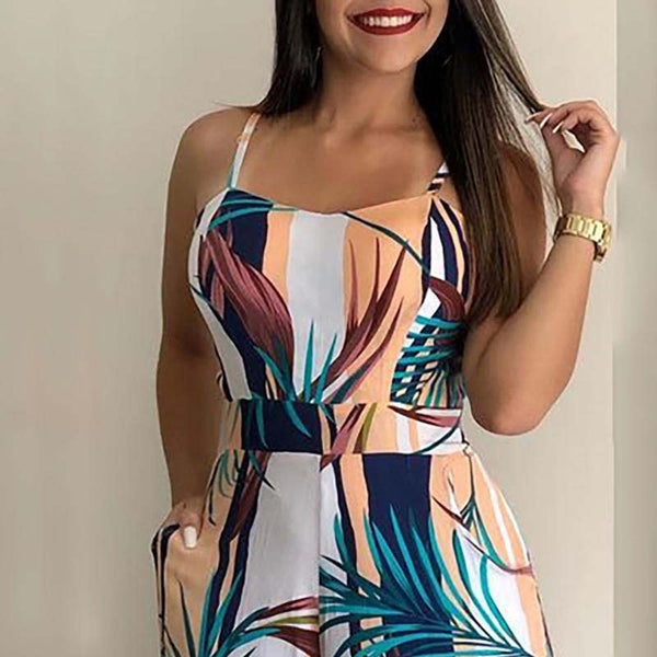 Women Leaf Print Jumpsuit - Thumb Slider