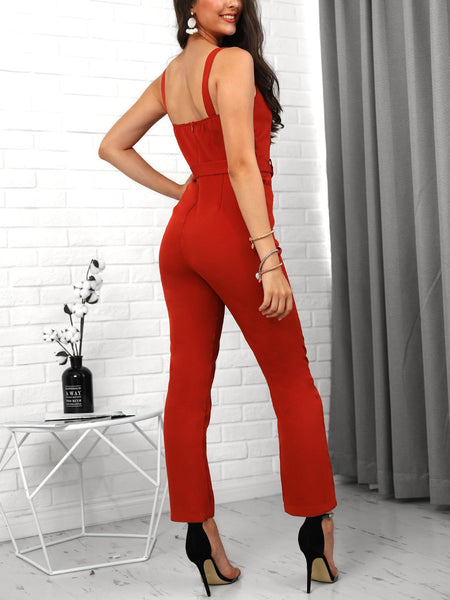 Red Slinky Button Design Jumpsuit - Thumb Slider