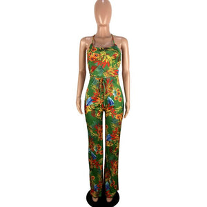 Women Backless Floral Jumpsuits - Thumb Slider