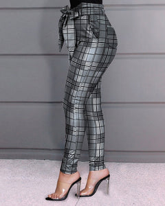 Grid Design Hight Waist Pencil Pants - Thumb Slider