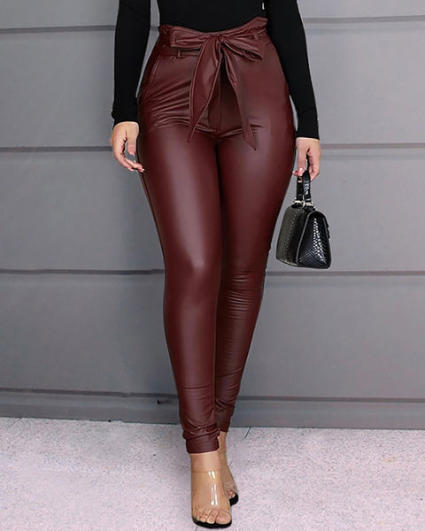 Faux Leather Pencil Pants - Thumb Slider