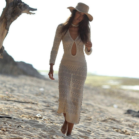Bohemian knitted long beach dress - Thumb Slider