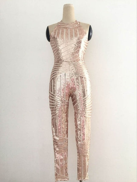 Gold Sequins Jumpsuit Romper For Women - Thumb Slider