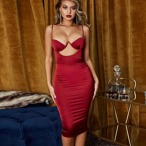 Satin Midi Bodycon Sexy Dress - Thumb Slider