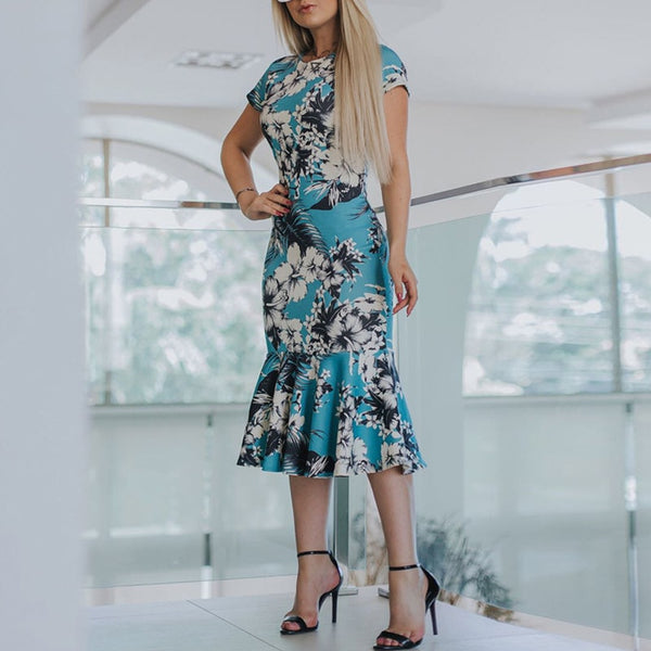 Women Floral Print Short Sleeve Dress - Thumb Slider