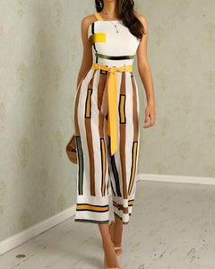 Sleeveless Striped Backless Jumpsuit - Thumb Slider