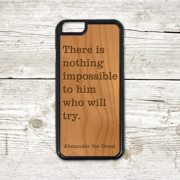 Custom Personalized Engraved Wood iPhone Case - With your Text or Saying - Real Natural Wood - For iPhone X, 7/8, 7/8 Plus, 6/6s, 6/6s Plus, SE, 5/5s, 5C, 4/4s