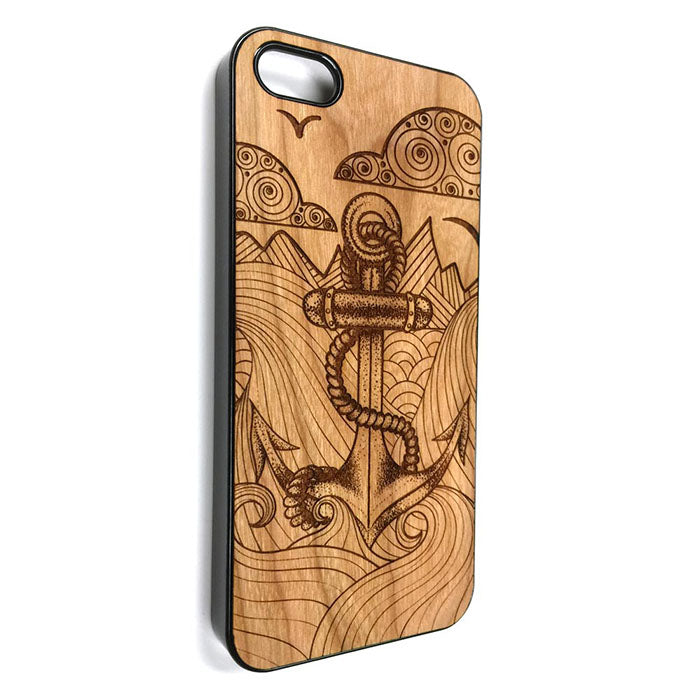 Anchor design12 nautical iPhone Case Carved Engraved design on Real Natural Wood - For iPhone 7/8, 6/6s, 6/6s Plus, SE, 5/5s, 5C, 4/4s