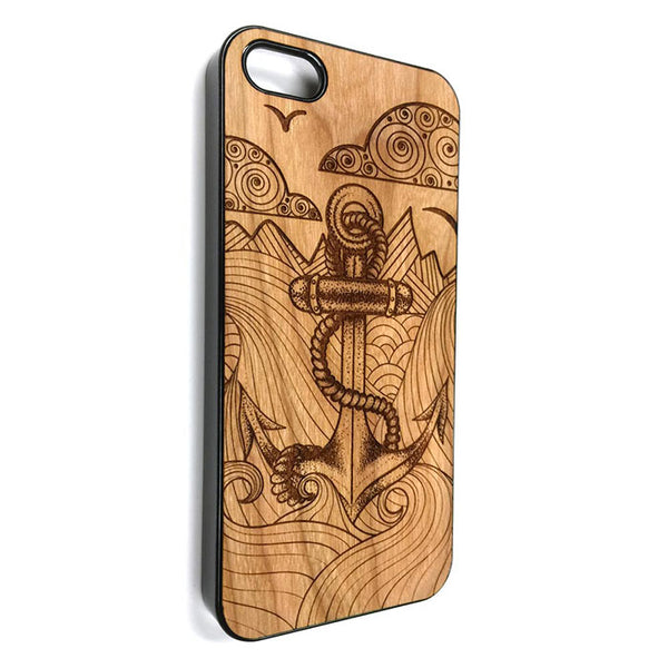 Anchor design12 nautical iPhone Case Carved Engraved design on Real Natural Wood - For iPhone X/XS, 7/8, 6/6s, 6/6s Plus, SE, 5/5s, 5C, 4/4s