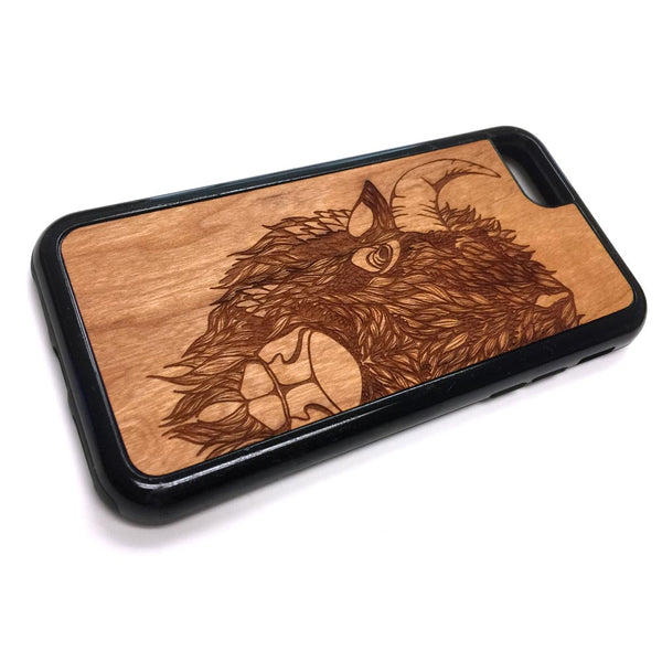 Bison design10v2 iPhone Case Carved Engraved design on Real Natural Wood - For iPhone X/XS, 7/8, 6/6s, 6/6s Plus, SE, 5/5s, 5C, 4/4s