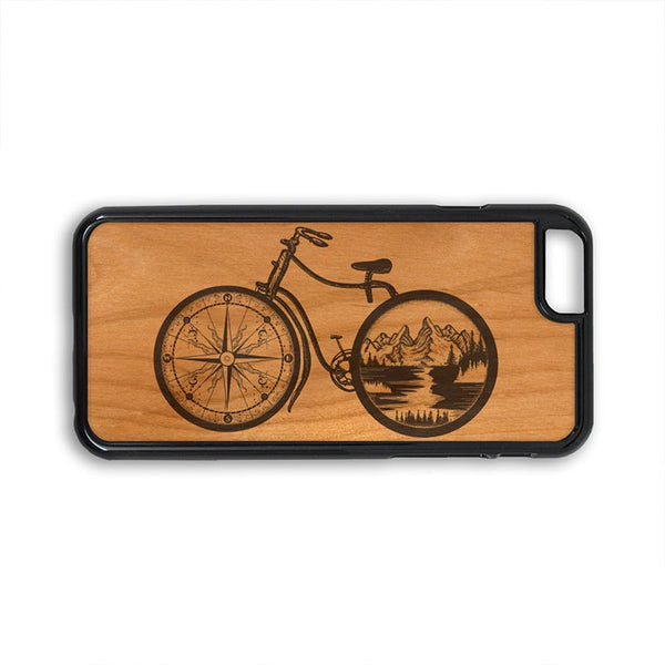 Boho Bicycle Mountain Compass iPhone Case Carved Engraved design on Real Natural Wood - For iPhone X/XS, 7/8, 6/6s, 6/6s Plus, SE, 5/5s, 5C, 4/4s