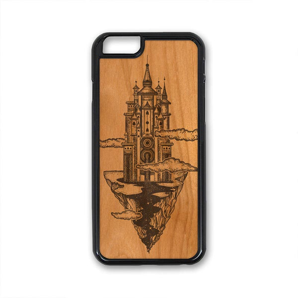 Boho Castle in Sky Mountain Clouds iPhone Case Carved Engraved design on Real Natural Wood - For iPhone X/XS, 7/8, 6/6s, 6/6s Plus, SE, 5/5s, 5C, 4/4s