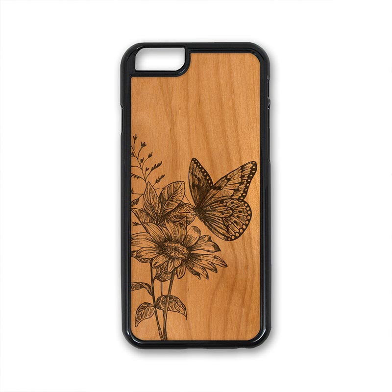 Butterfly On Flower iPhone Case Carved Engraved design on Real Natural Wood - For iPhone X/XS, 7/8, 6/6s, 6/6s Plus, SE, 5/5s, 5C, 4/4s