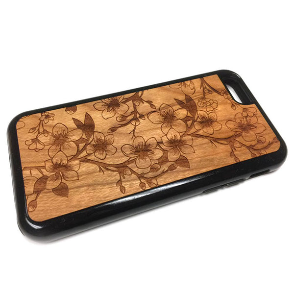 Cherry Blossoms design1 iPhone Case Carved Engraved design on Real Natural Wood - For iPhone X/XS, 7/8, 6/6s, 6/6s Plus, SE, 5/5s, 5C, 4/4s