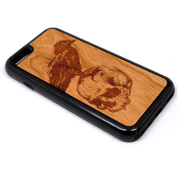 Crow and Skull design iPhone Case Carved Engraved design on Real Natural Wood - For iPhone X/XS, 7/8, 6/6s, 6/6s Plus, SE, 5/5s, 5C, 4/4s