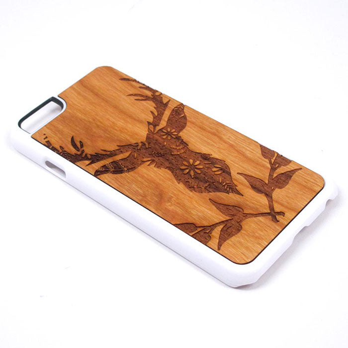 Deer Silhouette Design 01 iPhone Case Carved Engraved design on Real Natural Wood - For iPhone 7/8, 6/6s, 6/6s Plus, SE, 5/5s, 5C, 4/4s