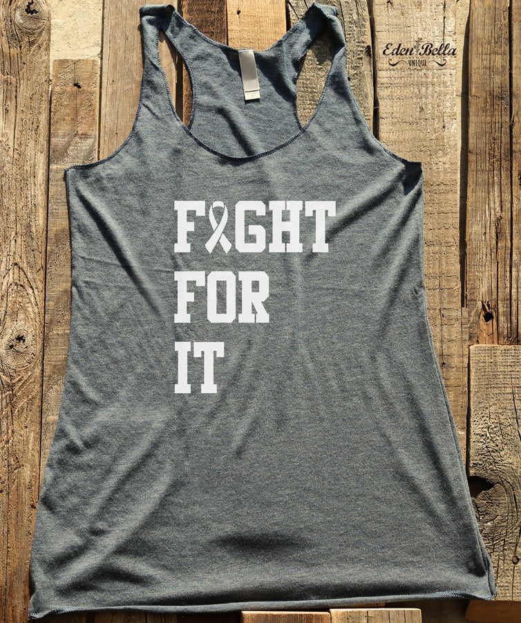 Fight For It - White Print - Soft Tri-Blend Racerback Tank - Fitness workout gym exercise tank