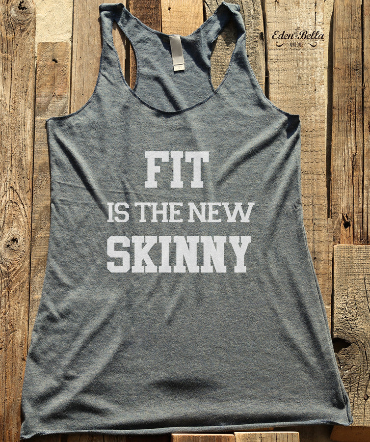 Fit is the new skinny - White Print - Soft Tri-Blend Racerback Tank - Fitness workout gym exercise tank