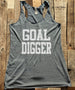 Goal Digger - White Print - Soft Tri-Blend Racerback Tank - Fitness workout gym exercise tank