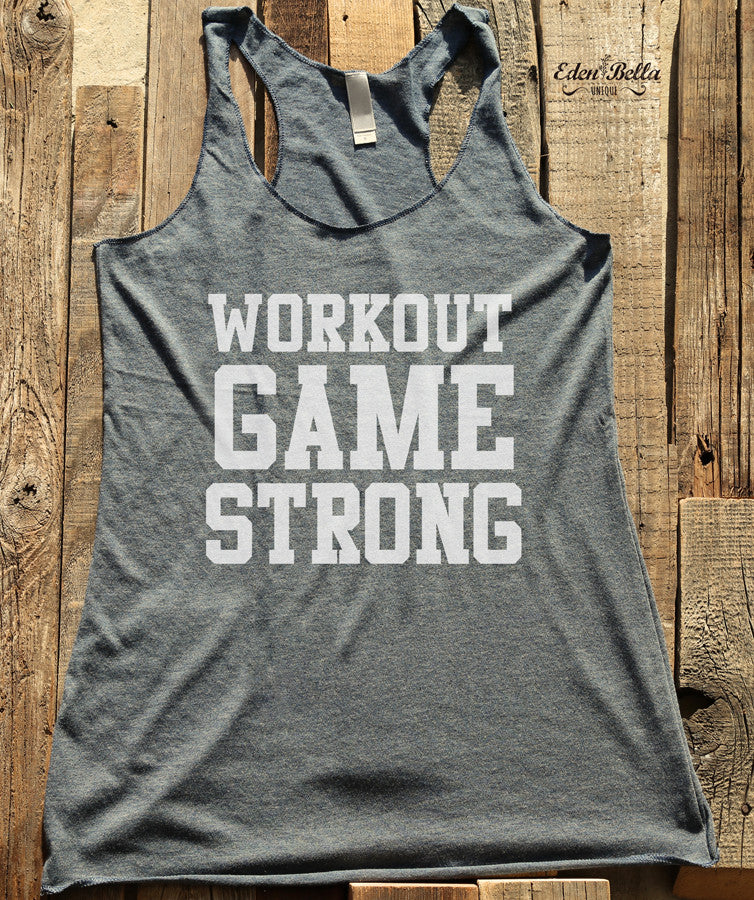 Workout Game Strong - White Print - Soft Tri-Blend Racerback Tank - Fitness workout gym exercise tank