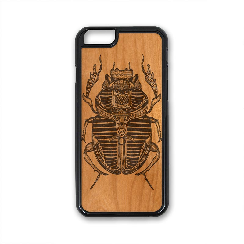 Egyptian Beetle pattern iPhone Case Carved Engraved design on Real Natural Wood - For iPhone X/XS, 7/8, 6/6s, 6/6s Plus, SE, 5/5s, 5C, 4/4s