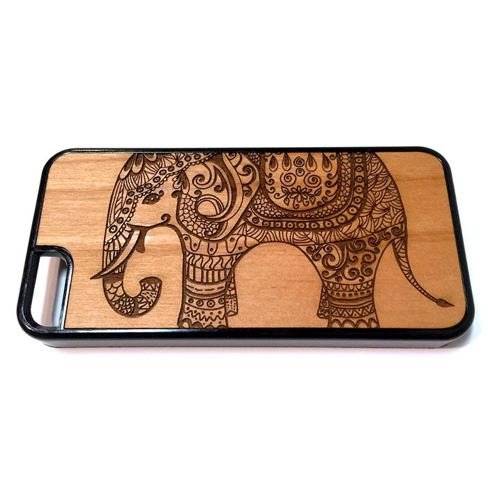 Elephant Indian Design iPhone Case Carved Engraved design on Real Natural Wood - For iPhone X/XS, 7/8, 6/6s, 6/6s Plus, SE, 5/5s, 5C, 4/4s