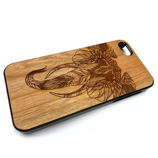 Elephant boho design15 iPhone Case Carved Engraved design on Real Natural Wood - For iPhone X/XS, 7/8, 6/6s, 6/6s Plus, SE, 5/5s, 5C, 4/4s