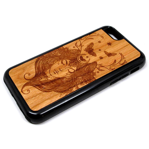 Fairy Moon Butterflies iPhone Case Carved Engraved design on Real Natural Wood - For iPhone X/XS, 7/8, 6/6s, 6/6s Plus, SE, 5/5s, 5C, 4/4s