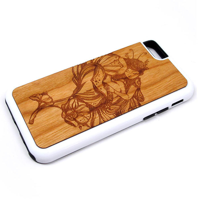 Fairy Sleeping iPhone Case Carved Engraved design on Real Natural Wood - For iPhone 7/8, 6/6s, 6/6s Plus, SE, 5/5s, 5C, 4/4s