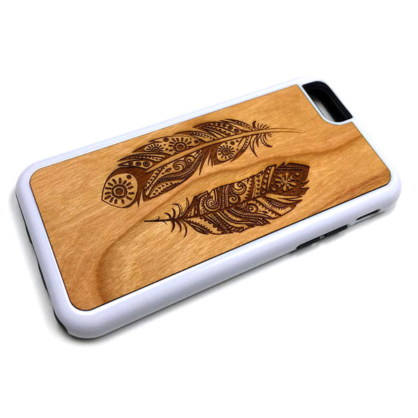 Feather Design8 iPhone Case Carved Engraved design on Real Natural Wood - For iPhone 7/8, 6/6s, 6/6s Plus, SE, 5/5s, 5C, 4/4s
