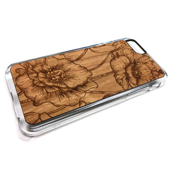 Floral flower design1 iPhone Case Carved Engraved design on Real Natural Wood - For iPhone X/XS, 7/8, 6/6s, 6/6s Plus, SE, 5/5s, 5C, 4/4s