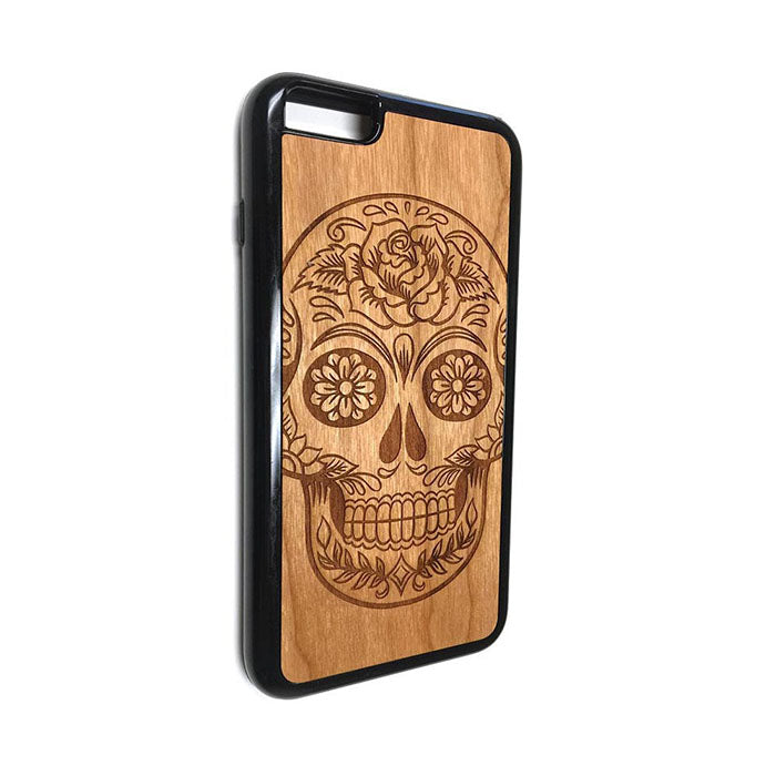 Flower Skull design11 iPhone Case Carved Engraved design on Real Natural Wood - For iPhone 7/8, 6/6s, 6/6s Plus, SE, 5/5s, 5C, 4/4s