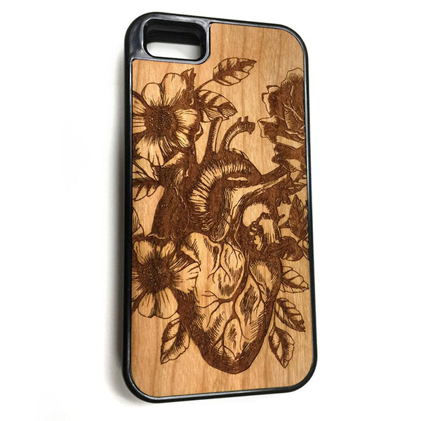 Heart with Flowers iPhone Case Carved Engraved design on Real Natural Wood - For iPhone X, 7/8, 6/6s, 6/6s Plus, SE, 5/5s, 5C, 4/4s