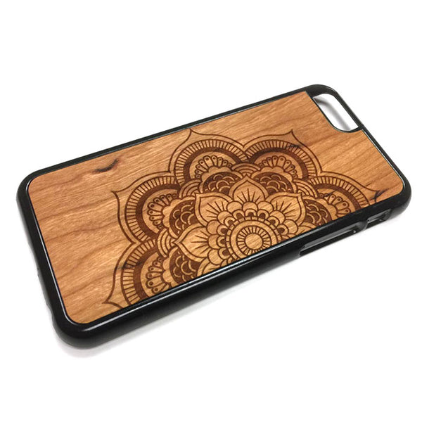 Henna Flower design21 iPhone Case Carved Engraved design on Real Natural Wood - For iPhone 7/8, 6/6s, 6/6s Plus, SE, 5/5s, 5C, 4/4s