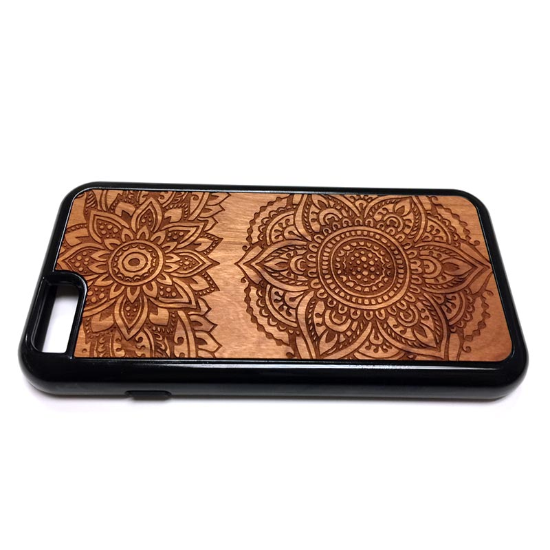 Henna Design34 iPhone Case Carved Engraved design on Real Natural Wood - For iPhone X/XS, 7/8, 6/6s, 6/6s Plus, SE, 5/5s, 5C, 4/4s