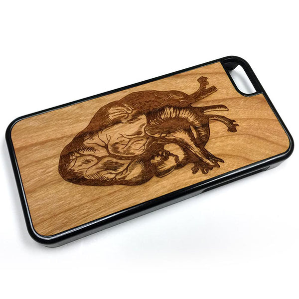Human Heart Illustration iPhone Case Carved Engraved design on Real Natural Wood - For iPhone 7/8, 6/6s, 6/6s Plus, SE, 5/5s, 5C, 4/4s