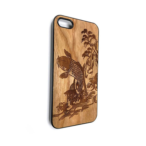 Japanese Koi Fish design1 iPhone Case Carved Engraved design on Real Natural Wood - For iPhone 7/8, 6/6s, 6/6s Plus, SE, 5/5s, 5C, 4/4s