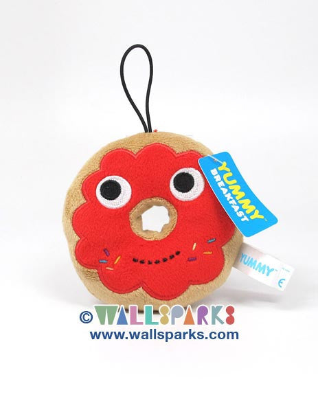 YUMMY Breakfast Kidrobot Small 4-inch Plush Red Donut