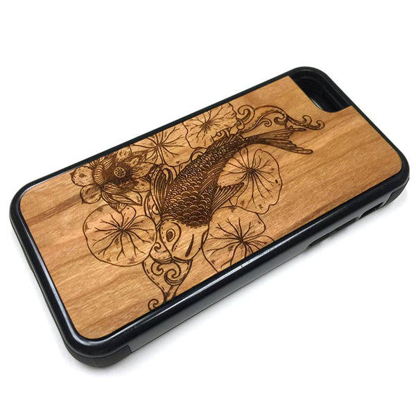 Koi Fish design3 iPhone Case Carved Engraved design on Real Natural Wood - For iPhone 7/8, 6/6s, 6/6s Plus, SE, 5/5s, 5C, 4/4s